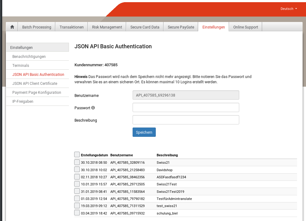 Abbildung 3: Saferpay Backend: JSON API Basic Authentification