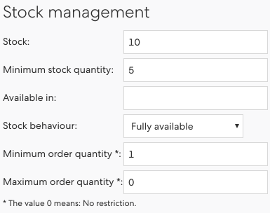 Figure 4: Stock settings of an article