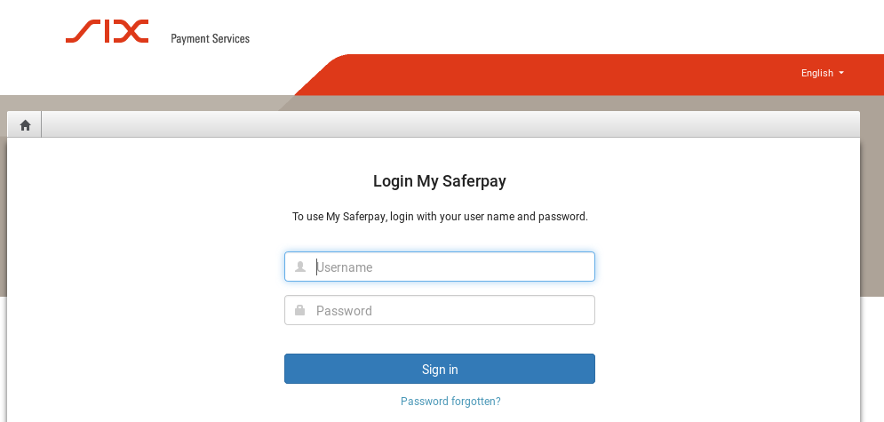 Figure 1: Login window: Enter the Saferpay login for the user with e at the beginning
