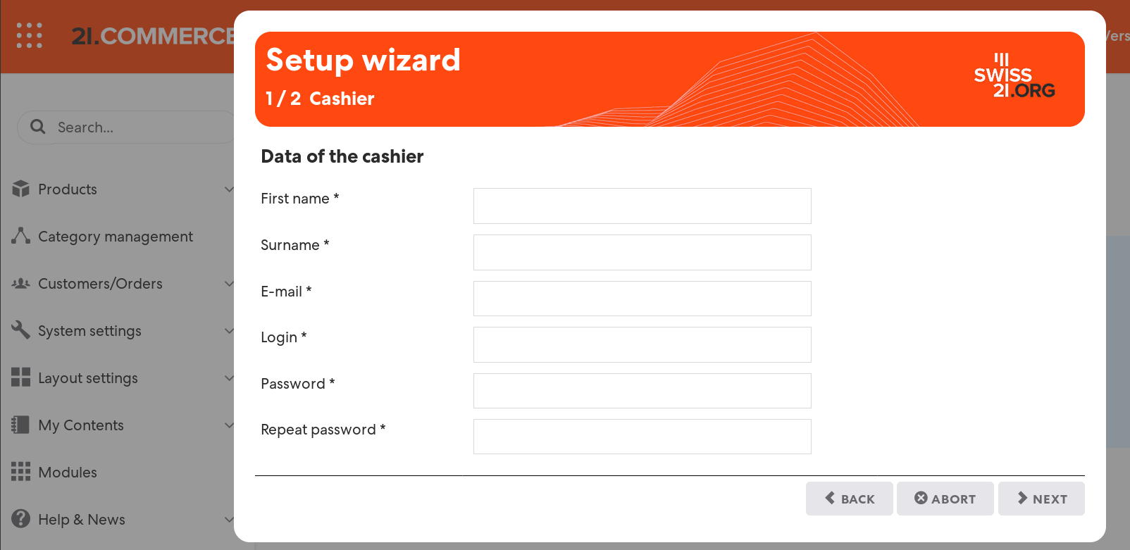 Figure 2: Enter the required data of your cash register user (cashier)