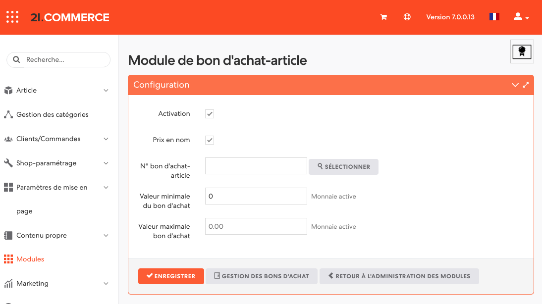 Illustration 6: Masque de gestion d'un bon d'achat-article à prix variable